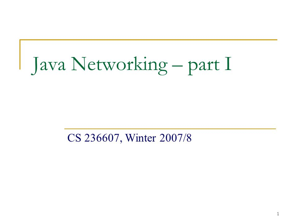1 Java Networking – part I CS , Winter 2007/8