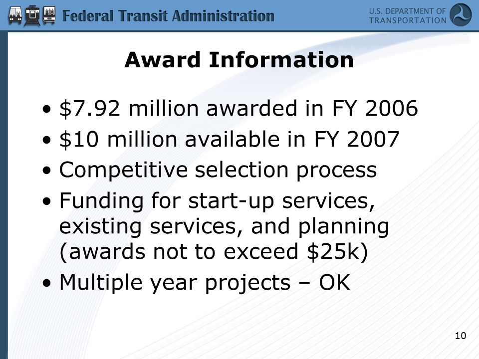 10 Award Information $7.92 million awarded in FY 2006 $10 million available in FY 2007 Competitive selection process Funding for start-up services, existing services, and planning (awards not to exceed $25k) Multiple year projects – OK