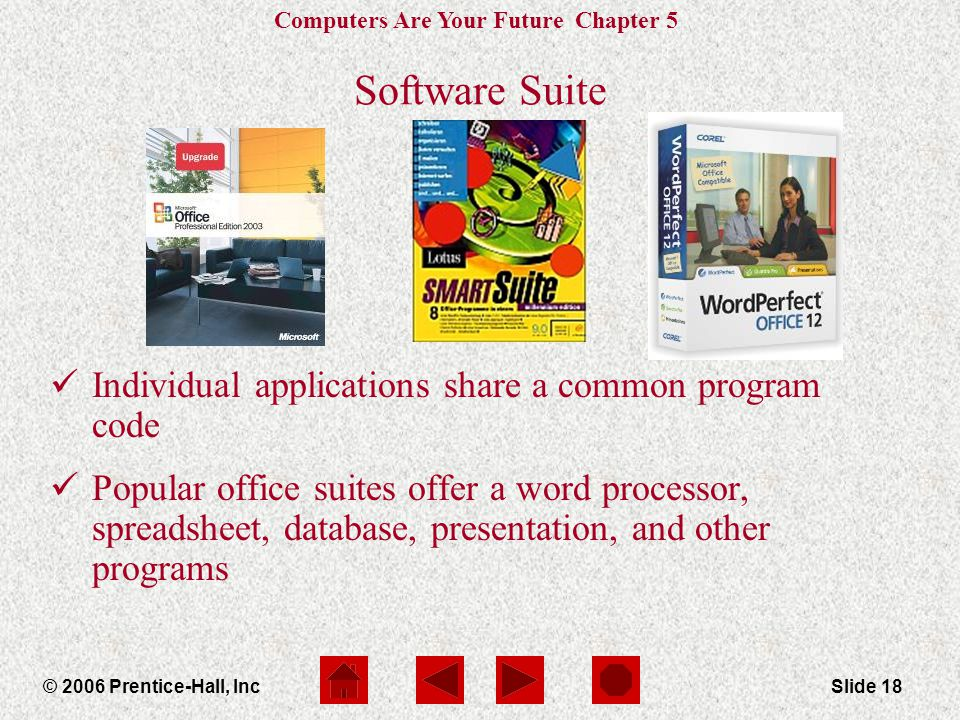 Computers Are Your Future Chapter 5 © 2006 Prentice-Hall, IncSlide 18 Software Suite Individual applications share a common program code Popular office suites offer a word processor, spreadsheet, database, presentation, and other programs