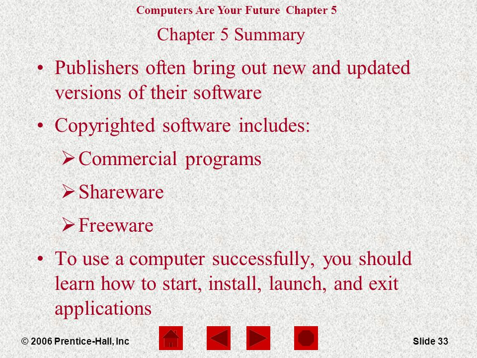 Computers Are Your Future Chapter 5 © 2006 Prentice-Hall, IncSlide 33 Chapter 5 Summary Publishers often bring out new and updated versions of their software Copyrighted software includes:  Commercial programs  Shareware  Freeware To use a computer successfully, you should learn how to start, install, launch, and exit applications