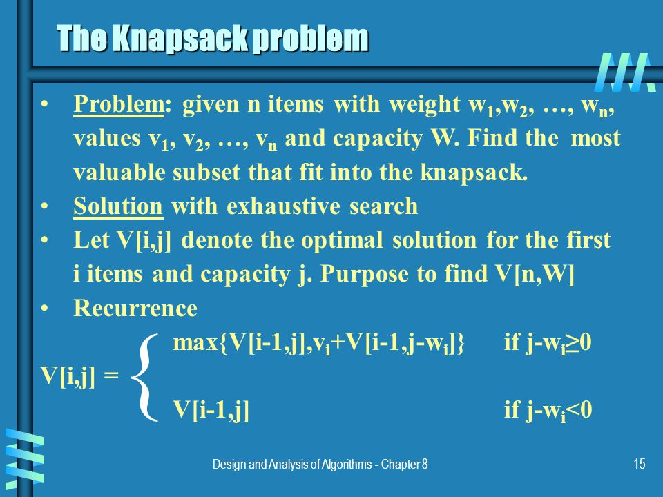 Design and Analysis of Algorithms - Chapter 815 The Knapsack problem Problem: given n items with weight w 1,w 2, …, w n, values v 1, v 2, …, v n and capacity W.