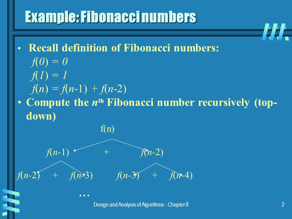 Design and Analysis of Algorithms - Chapter 82 Example: Fibonacci numbers Recall definition of Fibonacci numbers: f(0) = 0 f(1) = 1 f(n) = f(n-1) + f(n-2) Compute the n th Fibonacci number recursively (top- down) f(n) f(n-1) + f(n-2) f(n-2) + f(n-3) f(n-3) + f(n-4)...