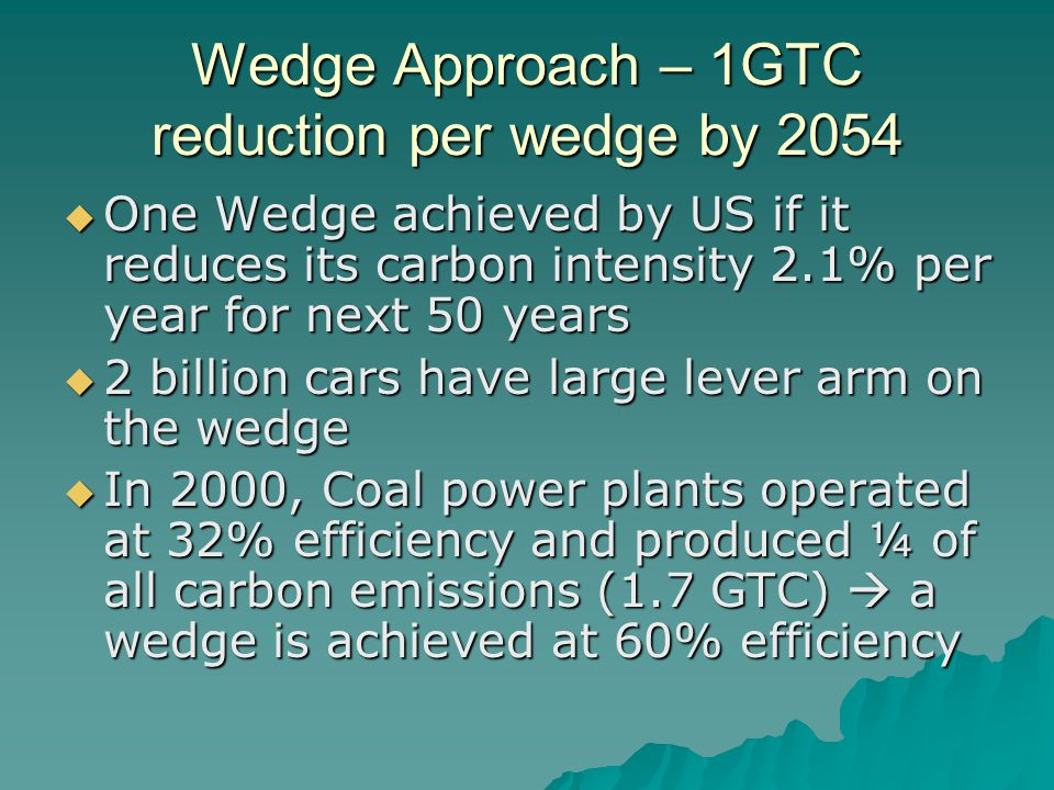 Wedge Approach – 1GTC reduction per wedge by 2054  One Wedge achieved by US if it reduces its carbon intensity 2.1% per year for next 50 years  2 billion cars have large lever arm on the wedge  In 2000, Coal power plants operated at 32% efficiency and produced ¼ of all carbon emissions (1.7 GTC)  a wedge is achieved at 60% efficiency