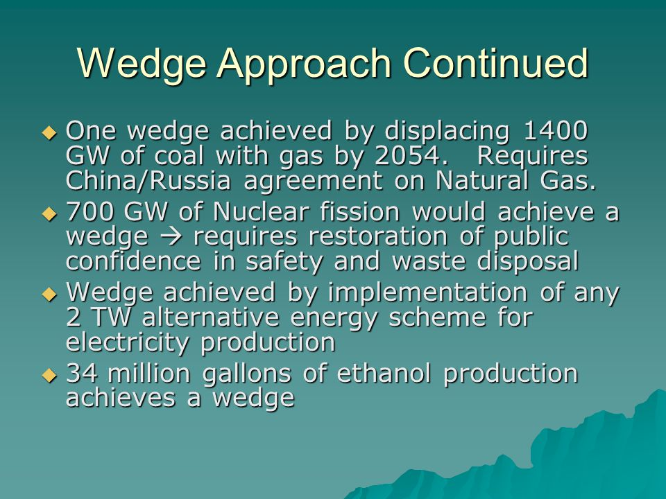 Wedge Approach Continued  One wedge achieved by displacing 1400 GW of coal with gas by 2054.