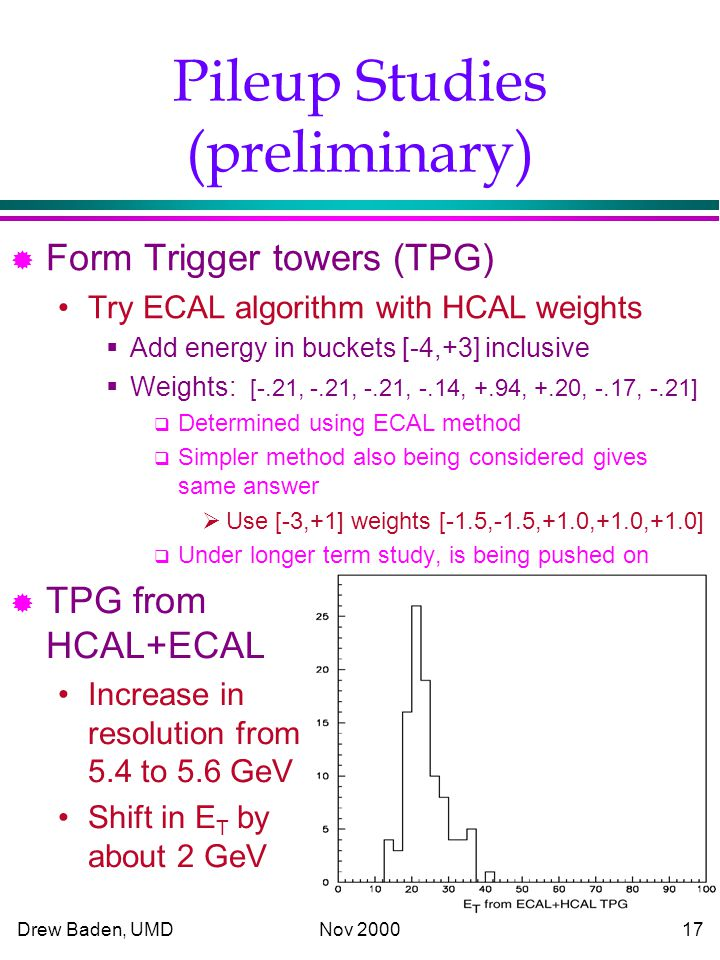 Drew Baden, UMD Nov Pileup Studies (preliminary) ® Form Trigger towers (TPG) Try ECAL algorithm with HCAL weights  Add energy in buckets [-4,+3] inclusive  Weights: [-.21, -.21, -.21, -.14, +.94, +.20, -.17, -.21]  Determined using ECAL method  Simpler method also being considered gives same answer  Use [-3,+1] weights [-1.5,-1.5,+1.0,+1.0,+1.0]  Under longer term study, is being pushed on ® TPG from HCAL+ECAL Increase in resolution from 5.4 to 5.6 GeV Shift in E T by about 2 GeV