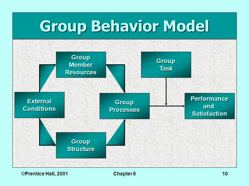©Prentice Hall, 2001Chapter 810 Group Behavior Model ExternalConditions PerformanceandSatisfaction GroupTask GroupStructure GroupMemberResources GroupProcesses