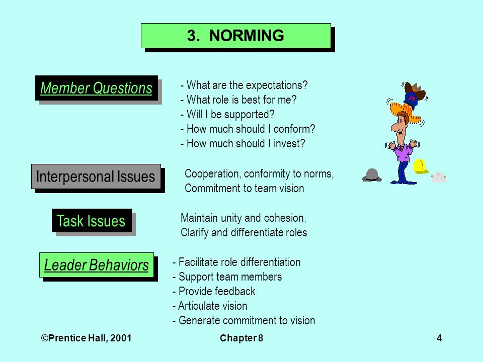 ©Prentice Hall, 2001Chapter 84 3. NORMING Member Questions - What are the expectations.