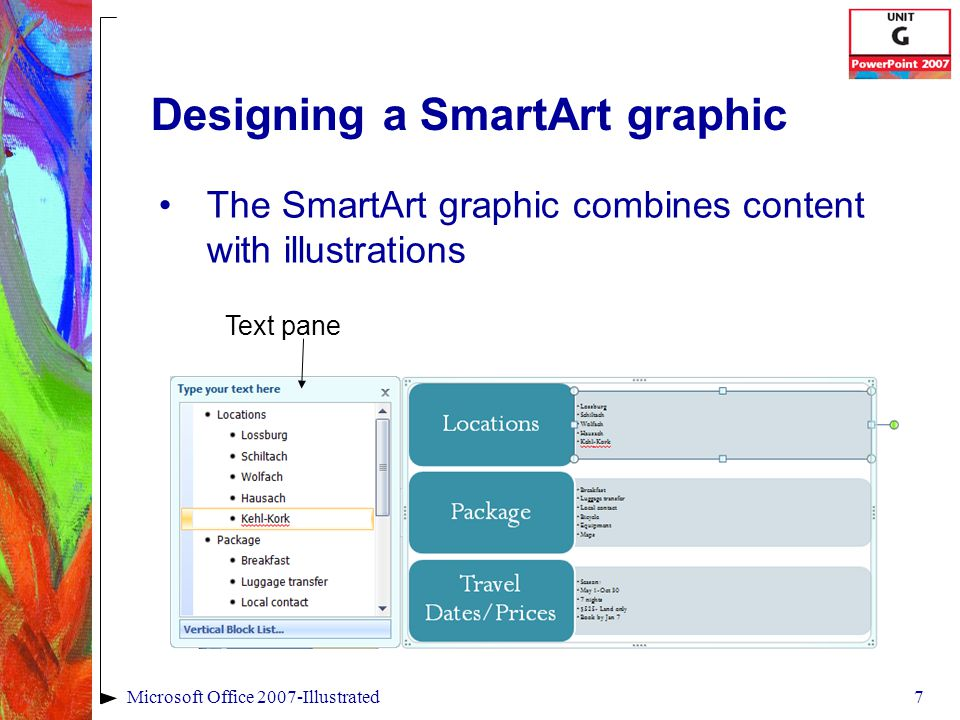 7Microsoft Office 2007-Illustrated Designing a SmartArt graphic The SmartArt graphic combines content with illustrations Text pane