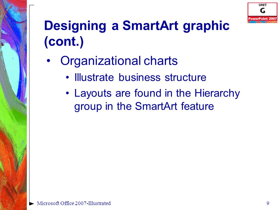 9Microsoft Office 2007-Illustrated Designing a SmartArt graphic (cont.) Organizational charts Illustrate business structure Layouts are found in the Hierarchy group in the SmartArt feature