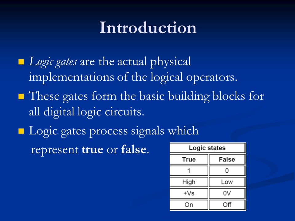 Introduction Logic gates are the actual physical implementations of the logical operators.