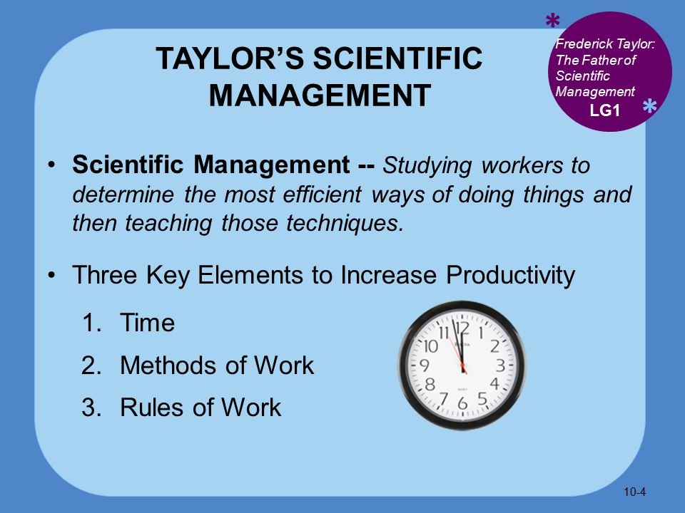 * * TAYLOR'S SCIENTIFIC MANAGEMENT Scientific Management -- Studying workers to determine the most efficient ways of doing things and then teaching those techniques.
