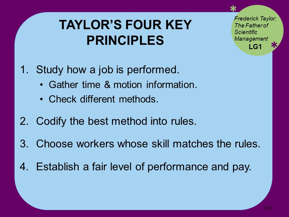 * * TAYLOR'S FOUR KEY PRINCIPLES 1. Study how a job is performed.