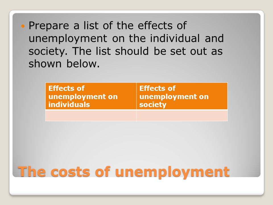 the effects and causes of unemployment The purpose of this paper is to look into the causes, effects and solutions to youth unemployment problems in nigeria causes of youth unemployment in.