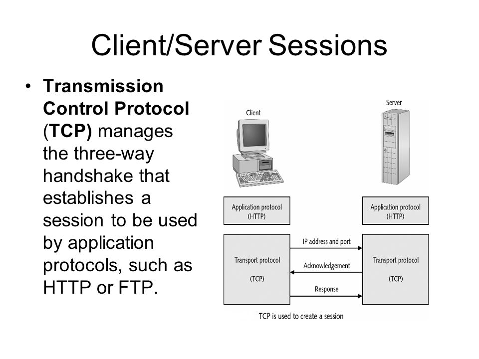 Client/Server Sessions Transmission Control Protocol (TCP) manages the three-way handshake that establishes a session to be used by application protocols, such as HTTP or FTP.
