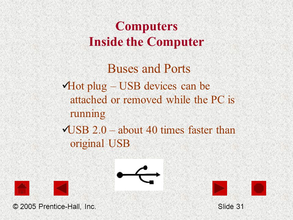 Computers Inside the Computer Buses and Ports Hot plug – USB devices can be attached or removed while the PC is running USB 2.0 – about 40 times faster than original USB © 2005 Prentice-Hall, Inc.Slide 31