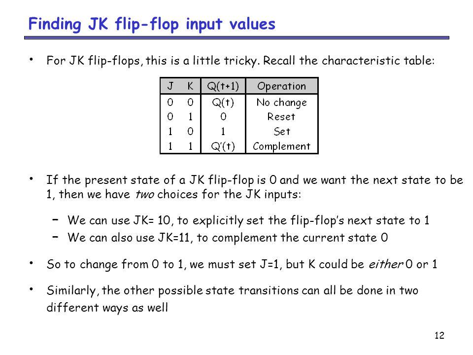 12 Finding JK flip-flop input values For JK flip-flops, this is a little tricky.