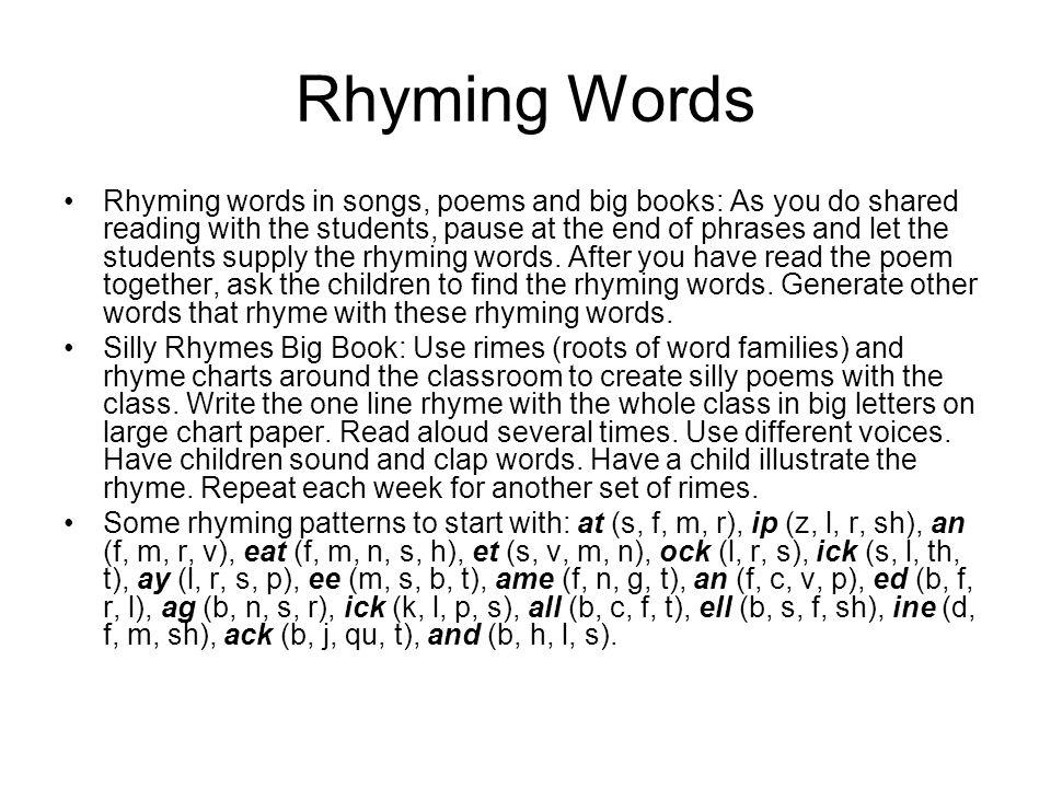 Worksheets 20 Rhyming Words 20 rhyming words rupsucks printables worksheets towards reading strategies try to provide a in songs poems