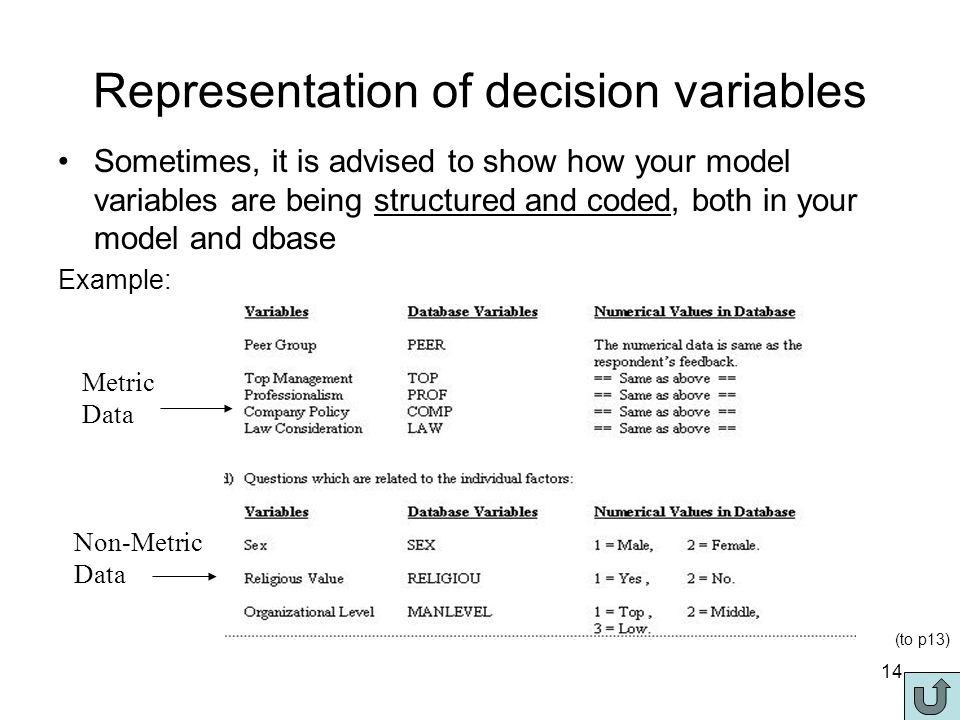 14 Representation of decision variables Sometimes, it is advised to show how your model variables are being structured and coded, both in your model and dbase Example: Metric Data Non-Metric Data (to p13)