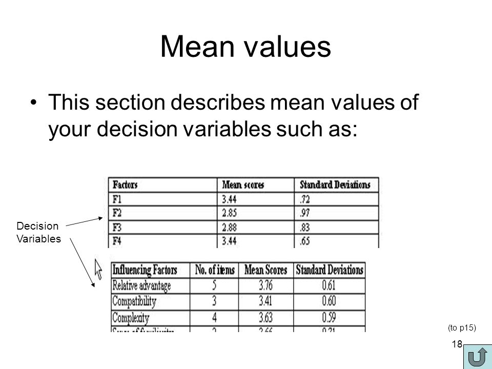 18 Mean values This section describes mean values of your decision variables such as: Decision Variables (to p15)