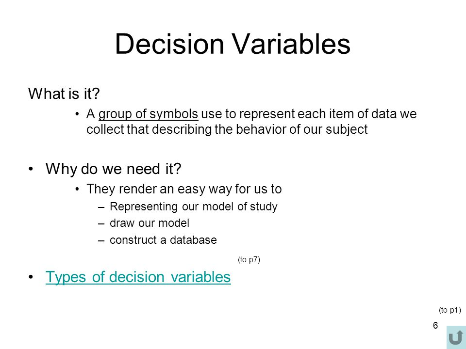 6 Decision Variables What is it.
