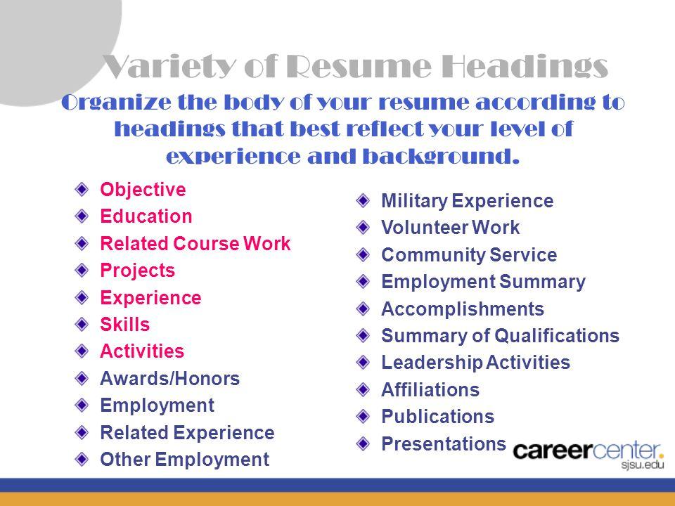 Career Center San José State University. The Resume Heading PAUL ...