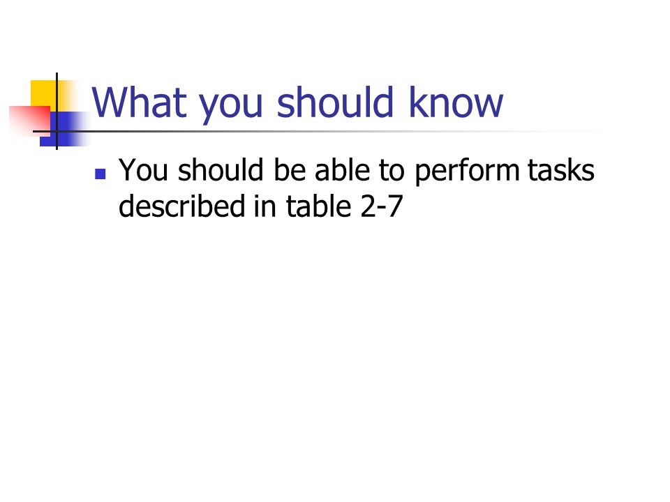 What you should know You should be able to perform tasks described in table 2-7