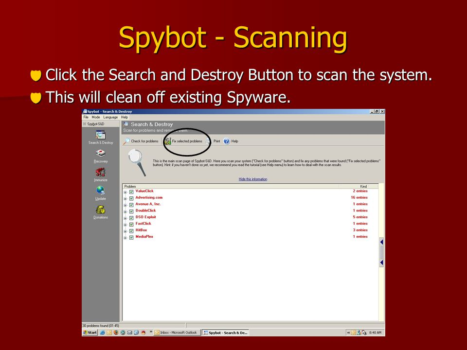 Spybot - Scanning  Click the Search and Destroy Button to scan the system.