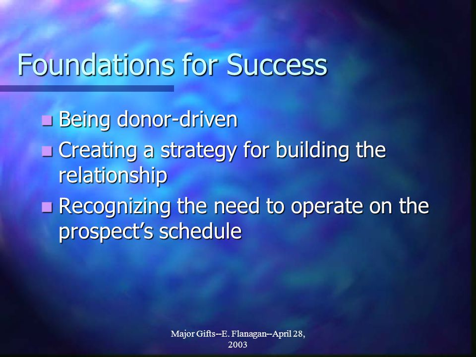Foundations for Success Being donor-driven Being donor-driven Creating a strategy for building the relationship Creating a strategy for building the relationship Recognizing the need to operate on the prospect's schedule Recognizing the need to operate on the prospect's schedule