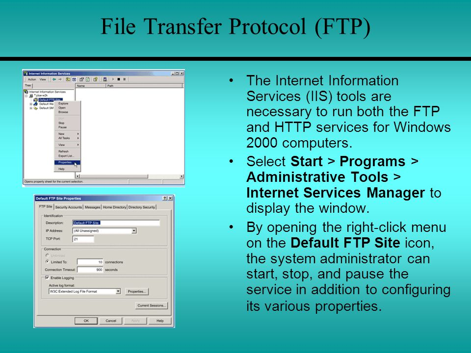 File Transfer Protocol (FTP) The Internet Information Services (IIS) tools are necessary to run both the FTP and HTTP services for Windows 2000 computers.