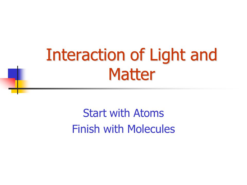 Interaction of Light and Matter Start with Atoms Finish with Molecules