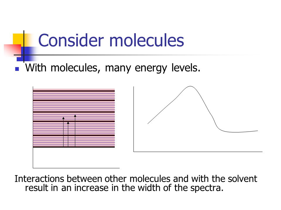 Consider molecules With molecules, many energy levels.