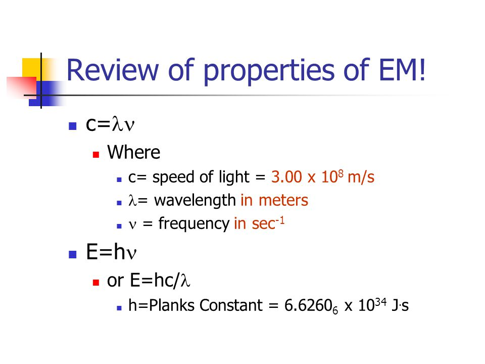 Review of properties of EM.