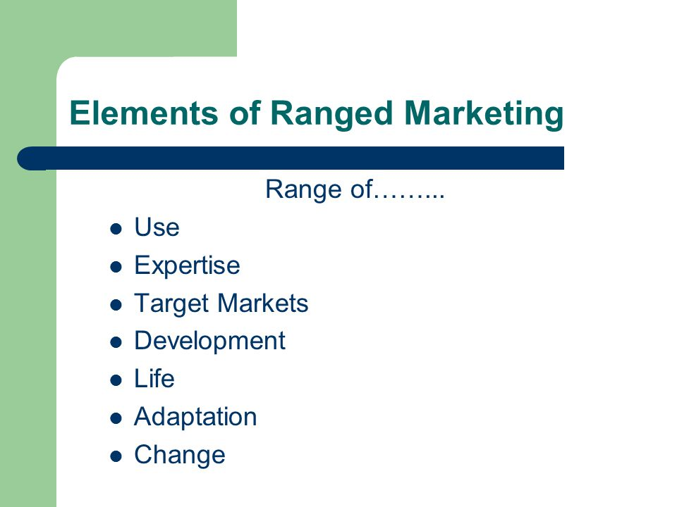Elements of Ranged Marketing Range of……...
