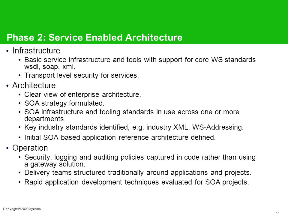 11 Copyright ® 2009 Ayenda Phase 2: Service Enabled Architecture Infrastructure Basic service infrastructure and tools with support for core WS standards wsdl, soap, xml.