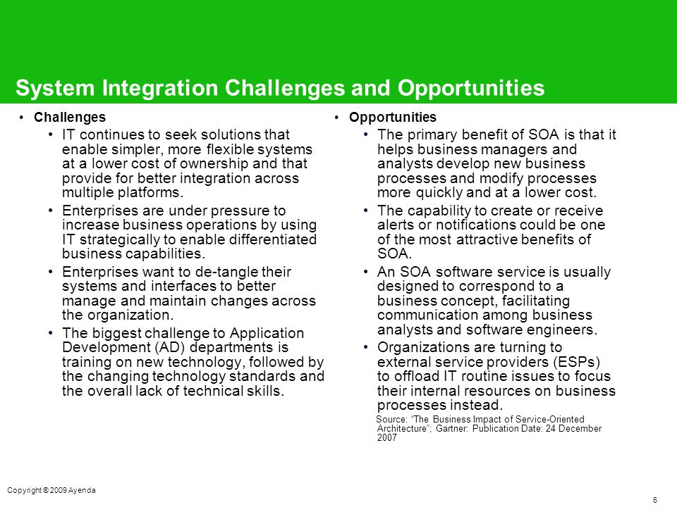 6 Copyright ® 2009 Ayenda System Integration Challenges and Opportunities Challenges IT continues to seek solutions that enable simpler, more flexible systems at a lower cost of ownership and that provide for better integration across multiple platforms.