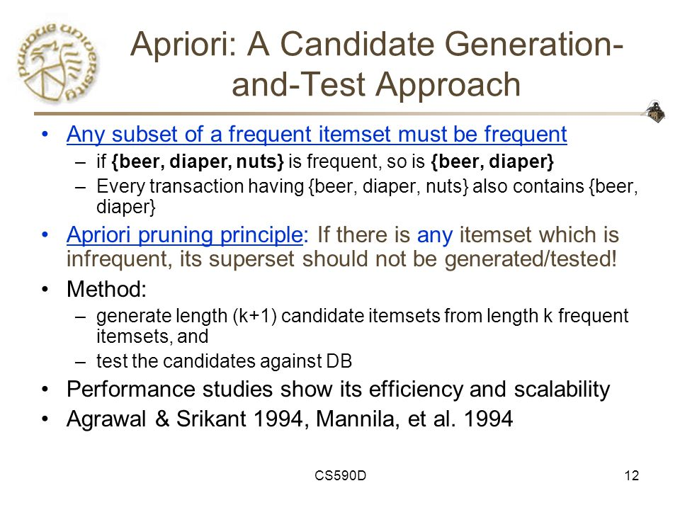 CS590D12 Apriori: A Candidate Generation- and-Test Approach Any subset of a frequent itemset must be frequent –if {beer, diaper, nuts} is frequent, so is {beer, diaper} –Every transaction having {beer, diaper, nuts} also contains {beer, diaper} Apriori pruning principle: If there is any itemset which is infrequent, its superset should not be generated/tested.