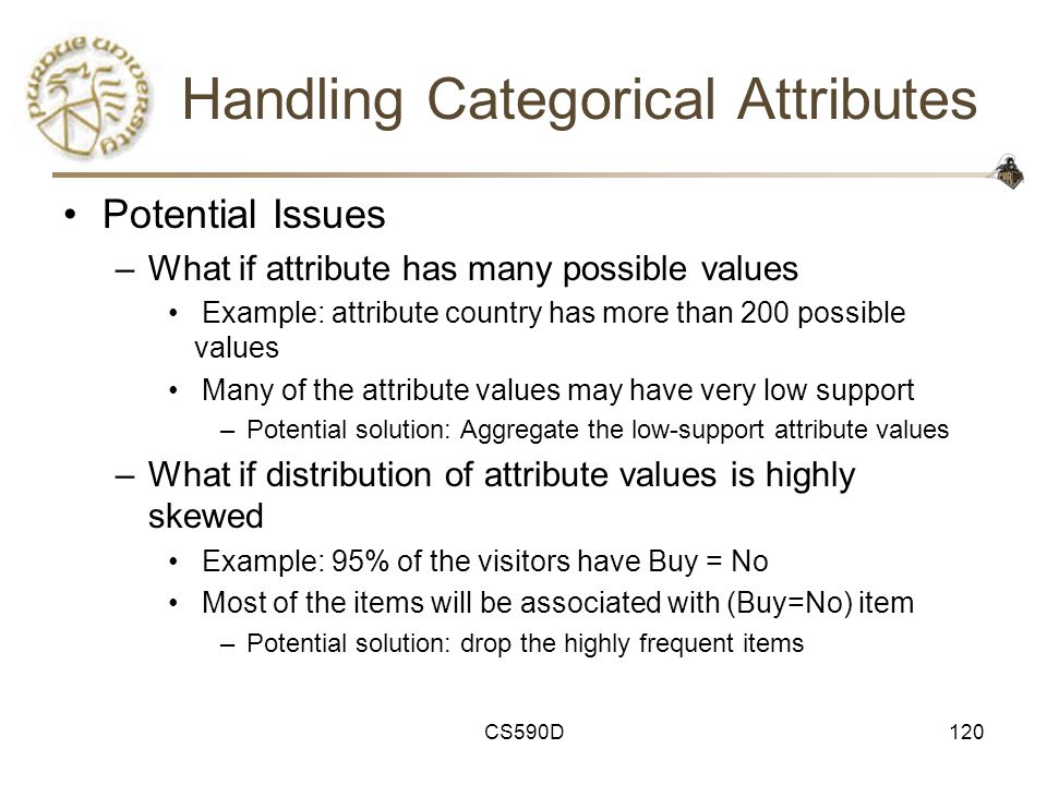 CS590D120 Handling Categorical Attributes Potential Issues –What if attribute has many possible values Example: attribute country has more than 200 possible values Many of the attribute values may have very low support –Potential solution: Aggregate the low-support attribute values –What if distribution of attribute values is highly skewed Example: 95% of the visitors have Buy = No Most of the items will be associated with (Buy=No) item –Potential solution: drop the highly frequent items