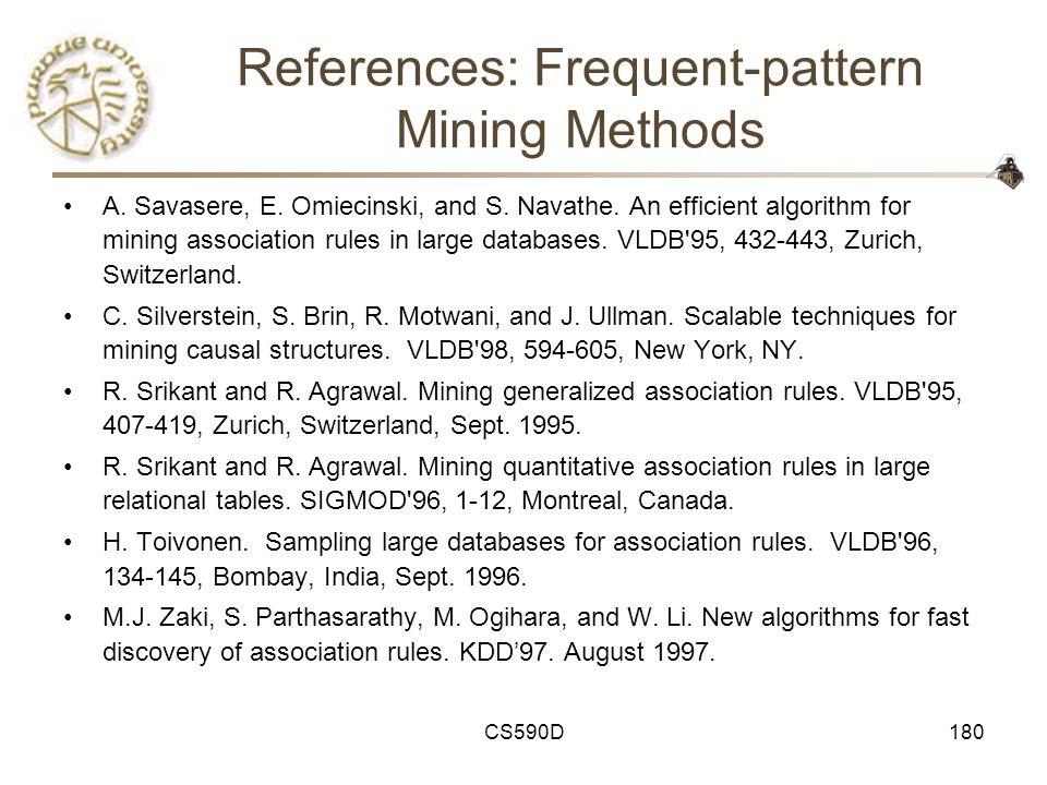 CS590D180 References: Frequent-pattern Mining Methods A.