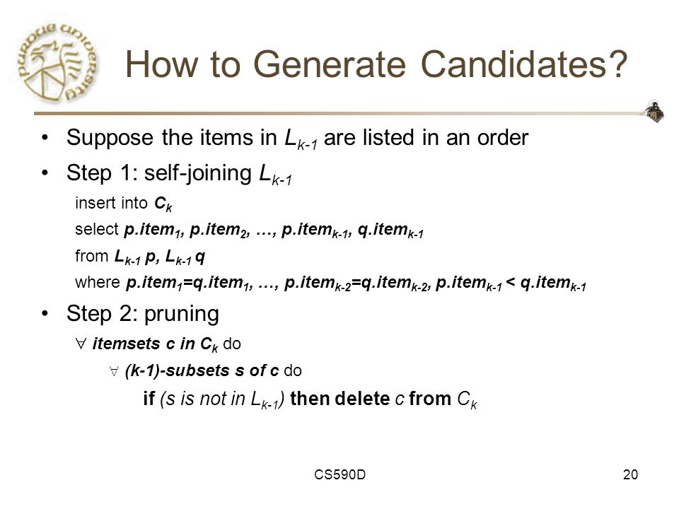 CS590D20 How to Generate Candidates.