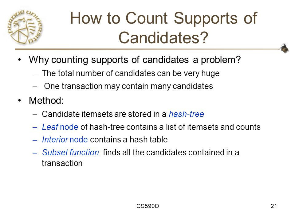 CS590D21 How to Count Supports of Candidates. Why counting supports of candidates a problem.
