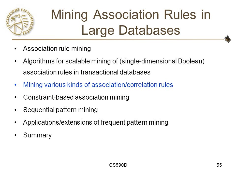 CS590D55 Mining Association Rules in Large Databases Association rule mining Algorithms for scalable mining of (single-dimensional Boolean) association rules in transactional databases Mining various kinds of association/correlation rules Constraint-based association mining Sequential pattern mining Applications/extensions of frequent pattern mining Summary