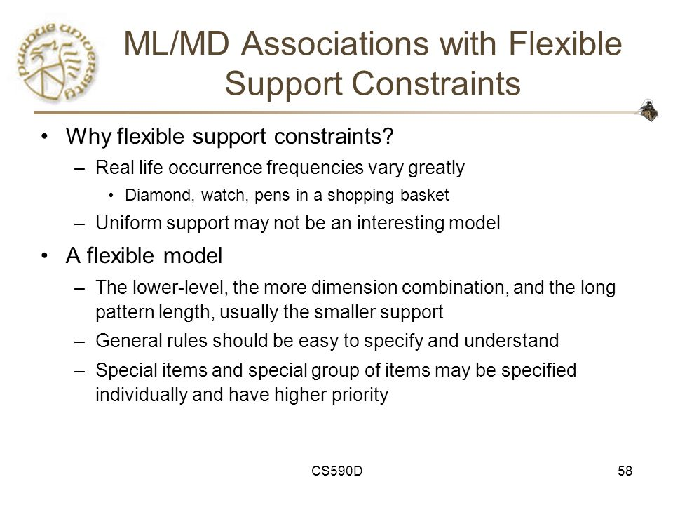 CS590D58 ML/MD Associations with Flexible Support Constraints Why flexible support constraints.