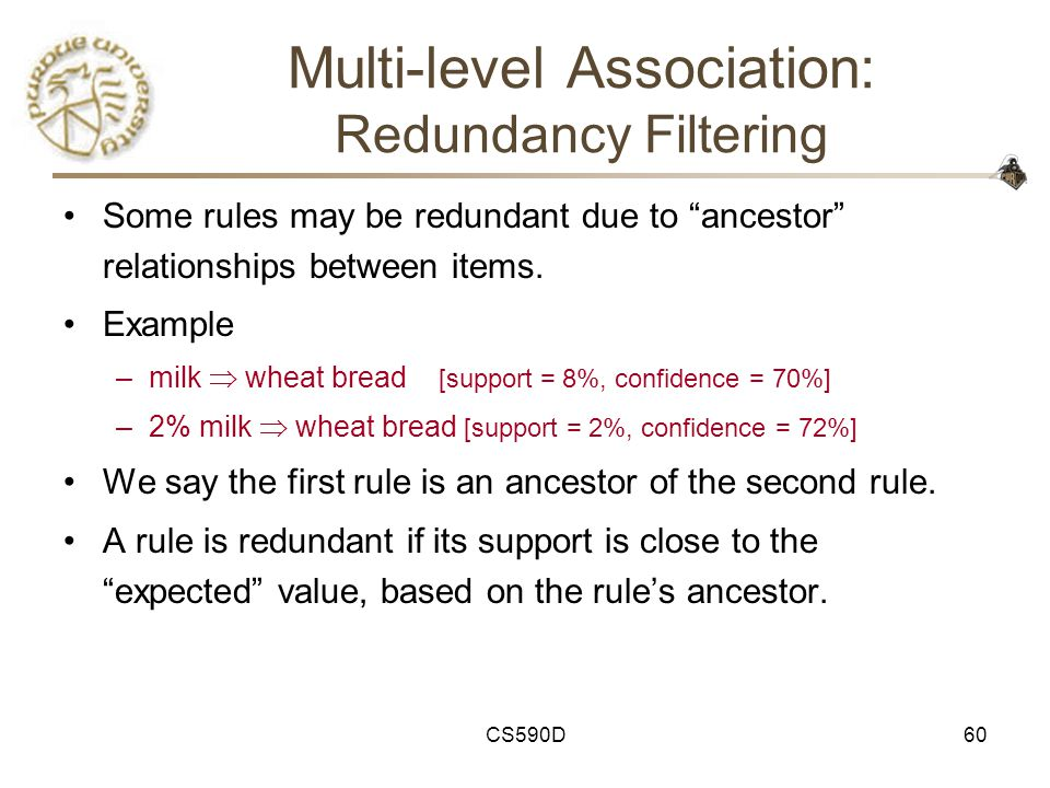 CS590D60 Multi-level Association: Redundancy Filtering Some rules may be redundant due to ancestor relationships between items.