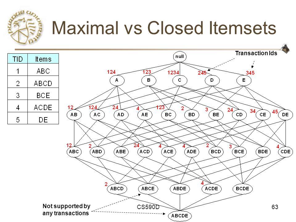 CS590D63 Maximal vs Closed Itemsets Transaction Ids Not supported by any transactions