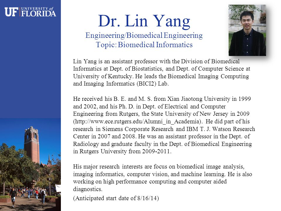 Lin Yang is an assistant professor with the Division of Biomedical Informatics at Dept.