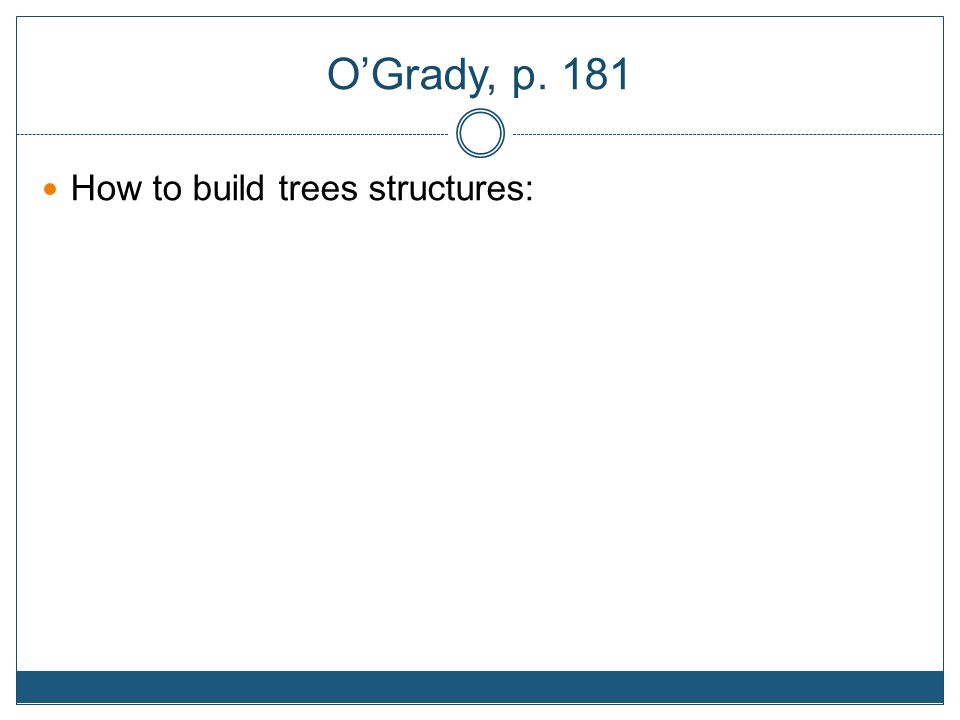 O'Grady, p. 181 How to build trees structures: