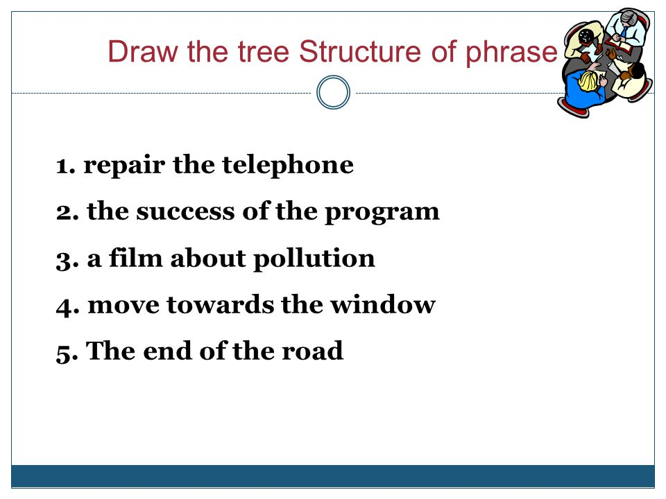 Draw the tree Structure of phrase 1. repair the telephone 2.