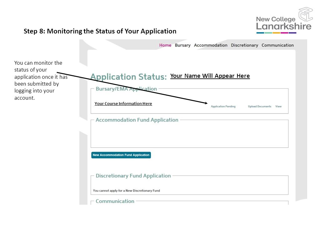 Step 8: Monitoring the Status of Your Application You can monitor the status of your application once it has been submitted by logging into your account.
