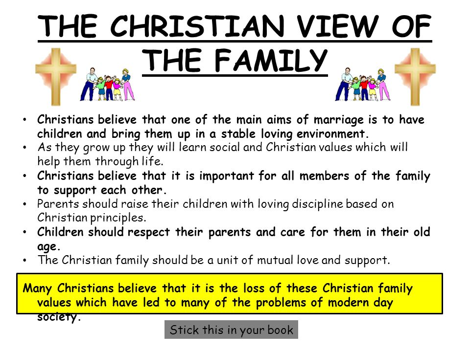 THE CHRISTIAN VIEW OF THE FAMILY Christians believe that one of the main aims of marriage is to have children and bring them up in a stable loving env