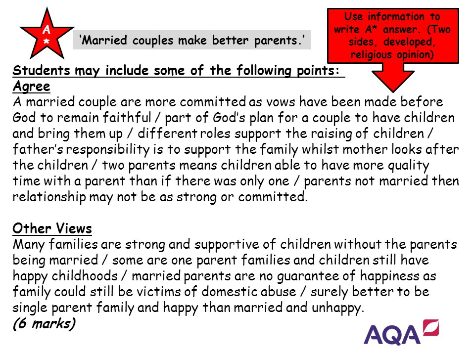 Students may include some of the following points: Agree A married couple are more committed as vows have been made before God to remain faithful / pa